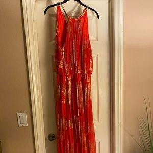 Dark orange and gold maxi dress
